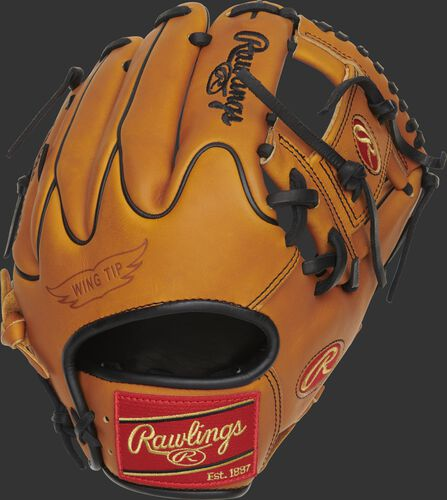 Wing Tip back of a Heart of the Hide Horween I-web glove with a red Rawlings patch - SKU: PRO205W-2HTB