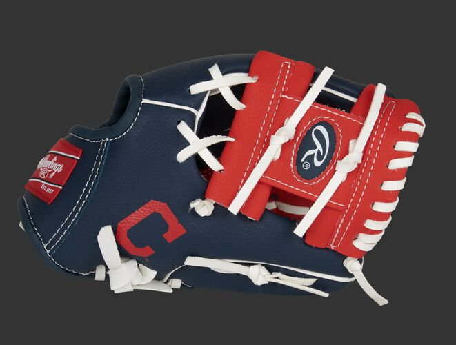 """Thumb of a navy/red Cleveland Baseball Team 10-inch team logo glove with a red I-web and """"C"""" logo on the thumb - SKU: 22000014111"""