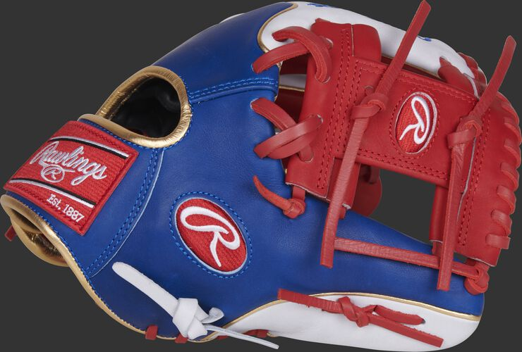 Thumb of a royal/white PRO204W-2SRW Heart of the Hide 11.5-Inch MLB infield glove with a scarlet I-web
