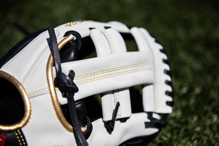 White Single Post web on a Rawlings Encore infield glove sitting on a field - SKU: EC1125-20BW