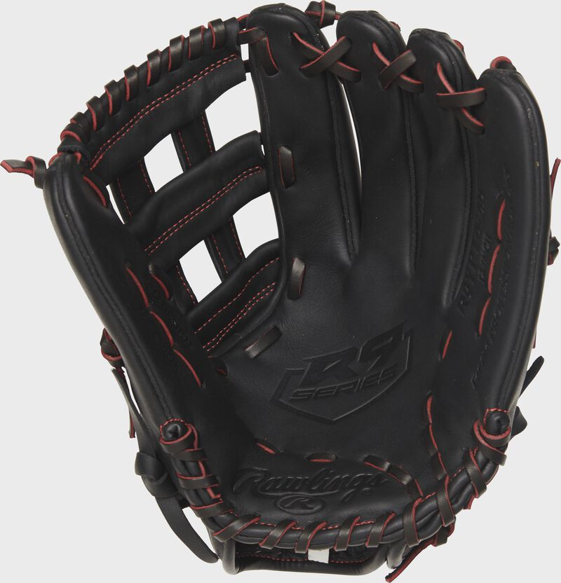 R9YPT6-6B Rawlings R9 Series 12-inch youth baseball glove with a black palm and black/scarlet laces