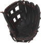 R9YPT6-6B Rawlings R9 Series 12-inch youth baseball glove with a black palm and black/scarlet laces image number null