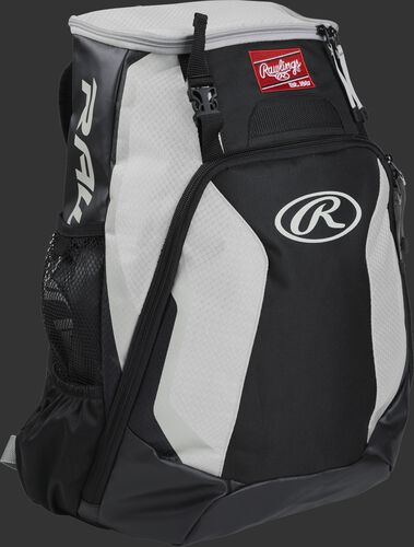 Right side of a black/white R500 Rawlings Players equipment backpack with white trim