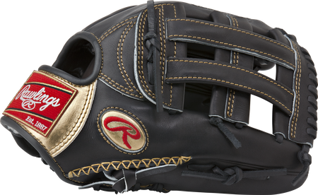 Thumb of a black RGG303-6B Gold Glove 12.75-inch outfield glove with hand sewn welt and black H web