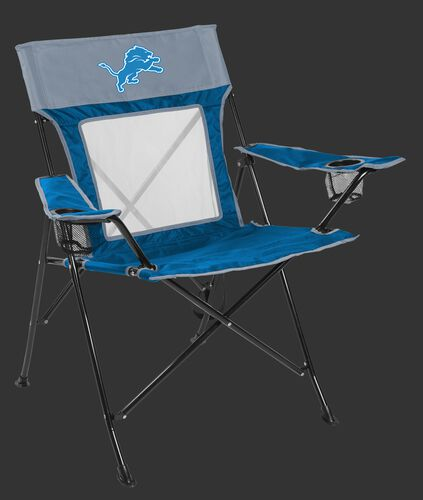 Front of Rawlings Blue and Grey NFL Detroit Lions Game Changer Chair With Team Logo SKU #00651067111