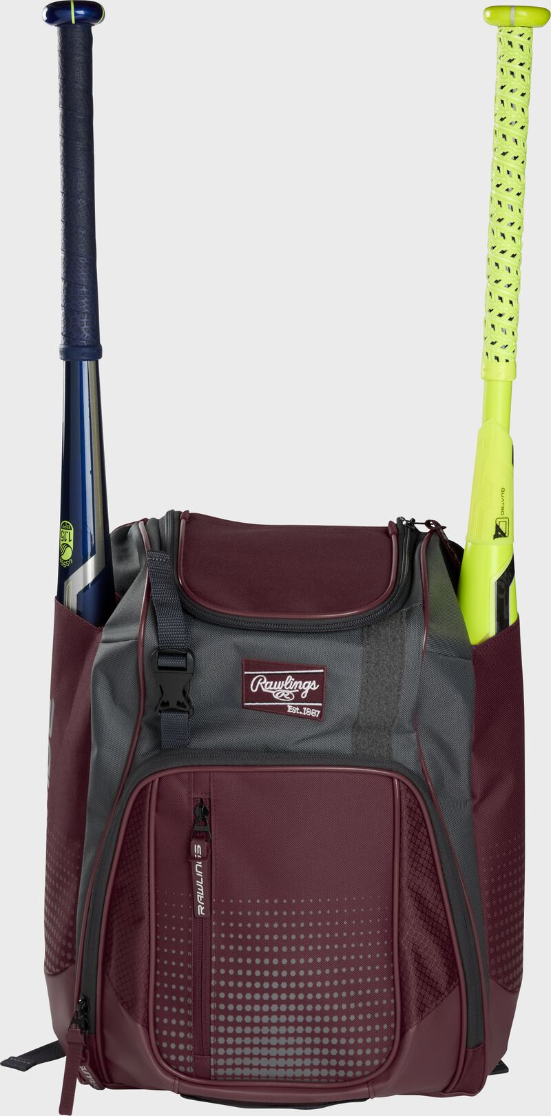 Front of a maroon Rawlings Franchise baseball backpack with two bats in the side sleeves - SKU: FRANBP-MA