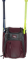 Front of a maroon Rawlings Franchise baseball backpack with two bats in the side sleeves - SKU: FRANBP-MA image number null