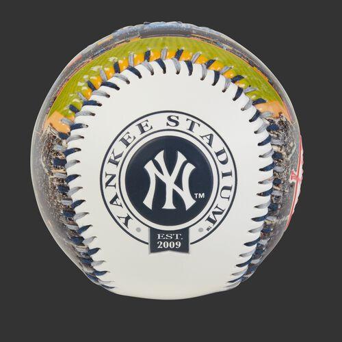 New York Yankees team logo on a MLB stadium baseball