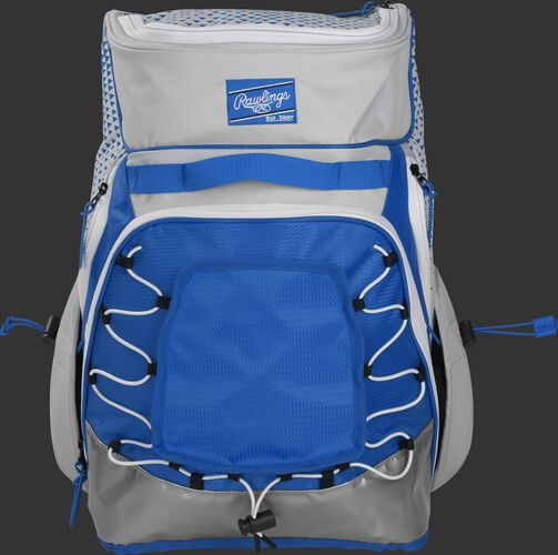 Front of a white/royal R800 Rawlings softball backpack with a royal patch and beaver tail external pocket
