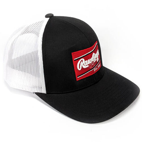 Front of Rawlings Black & White Snapback Trucker Mesh Hat With Rawlings Patch Logo - SKU #RWBHC
