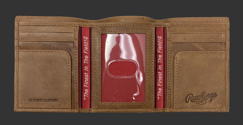Inside of a tan Rawlings American Story tri-fold wallet with multiple card slots and clear ID window - SKU: RPW002-204