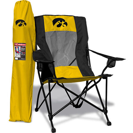 Front of Rawlings Yellow and Black NCAA Iowa Hawkeyes High Back Chair With Team Logo SKU #09403075518