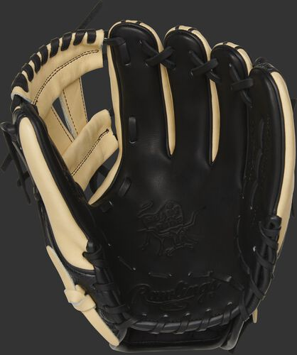 Black palm of a Rawlings Heart of the Hide exclusive infield glove with a camel web and black laces - SKU: PRO314-7BCC
