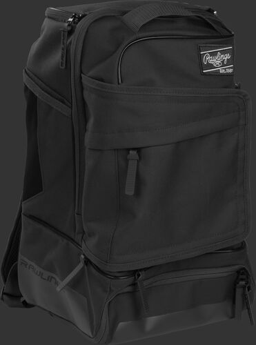 Right angle of a black R701 baseball backpack