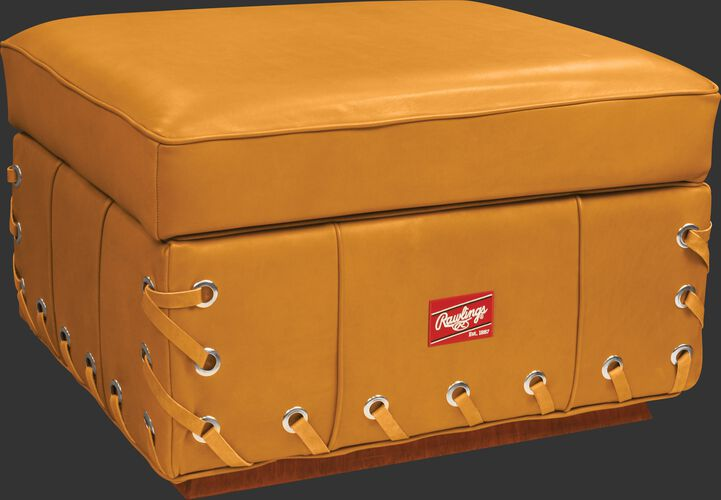 Front of Rawlings Camel Heart of the Hide Ottoman With Brand Patch SKU #HOHCHROTT