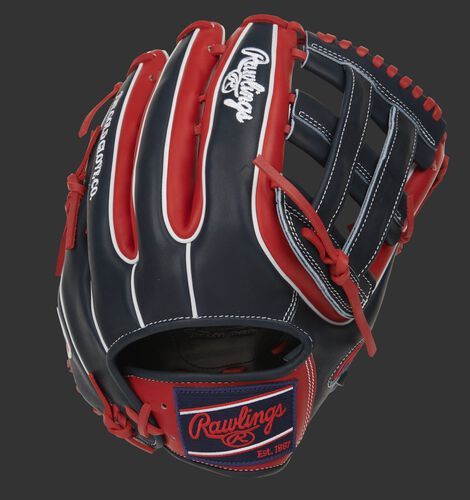 Navy/scarlet back of a Pro Preferred H-web outfield glove with double welting and navy Rawlings patch - SKU: PROS3319-6SN