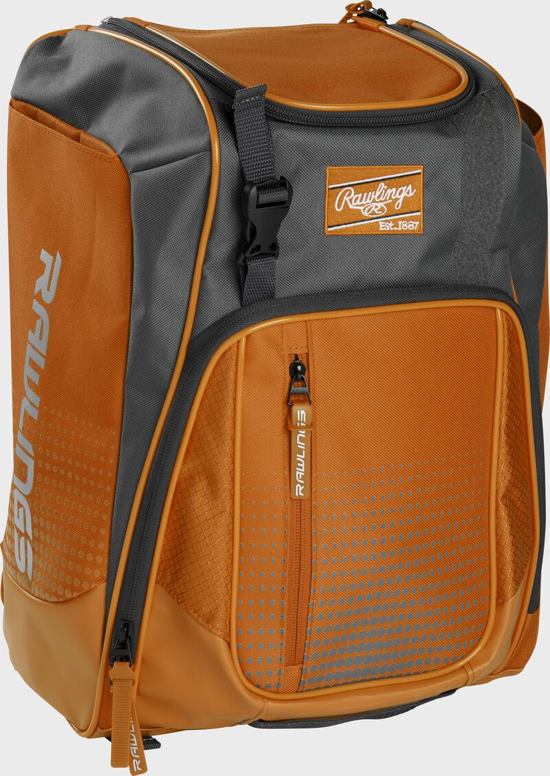 Front left angle of an orange Rawlings Franchise bag with gray accents - SKU: FRANBP-O