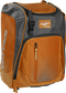 Front left angle of an orange Rawlings Franchise bag with gray accents - SKU: FRANBP-O image number null