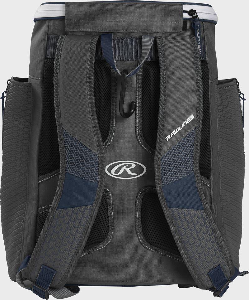 Back of a navy Rawlings Impulse baseball backpack with gray shoulder straps - SKU: IMPLSE-N