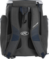 Back of a navy Rawlings Impulse baseball backpack with gray shoulder straps - SKU: IMPLSE-N image number null