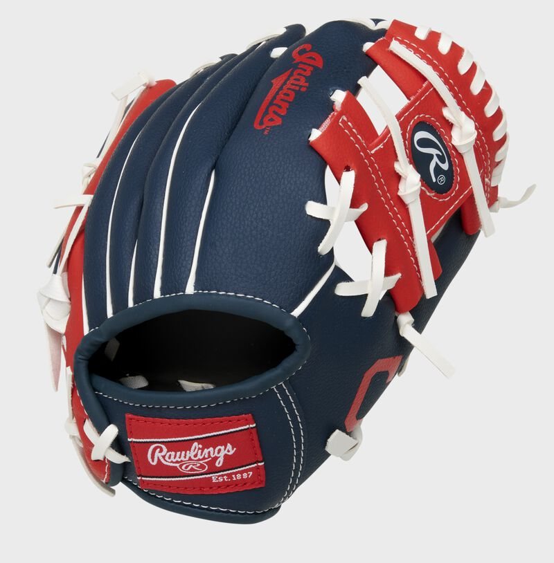 Back of a navy/red Cleveland Baseball Team 10-inch I-web glove with a red Rawlings patch - SKU: 22000014111