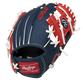 Back of a navy/red Cleveland Baseball Team 10-inch I-web glove with a red Rawlings patch - SKU: 22000014111 image number null
