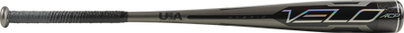 Barrel of a grey USZV5 2020 -5 Velo ACP USA bat with black and silver accents