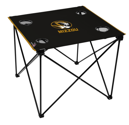 A black NCAA Missouri Tigers deluxe tailgate table with four cup holders and team logo printed in the middle
