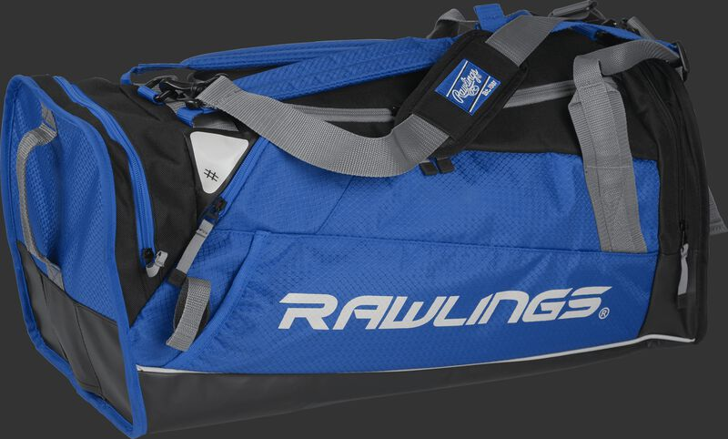 Side angle view of a royal R601 Hybrid players bag with a Rawlings logo on the side