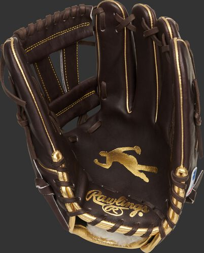 Palm of a Rawlings G57 Manny Machado glove with a mocha palm and gold stamp of Machado's logo - SKU: PROSNP7-MM13