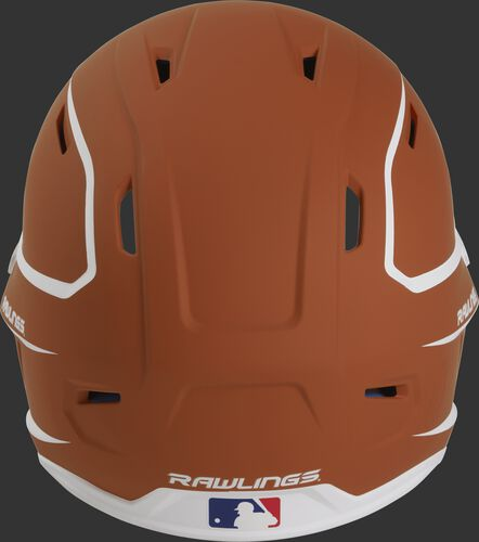 Back of an orange/white MACH high performance senior helmet with the Official Batting Helmet of MLB logo