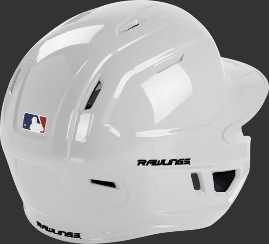 Back right of a white MCH01A Rawlings batting helmet with optimal air ventilation holes