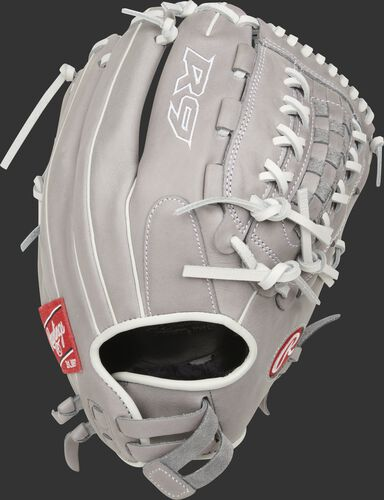 Gray back of a R9 Series 12.5-inch softball glove with an adjustable Pull-strap back - SKU: R9SB125-18G