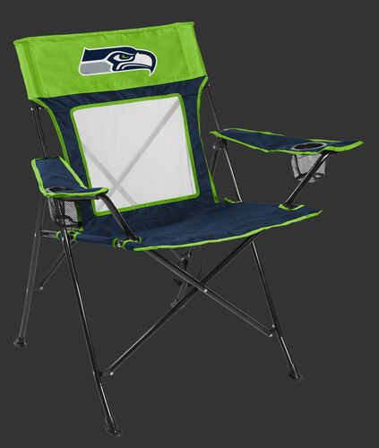 Front of Rawlings Navy and Bright Green NFL Seattle Seahawks Game Changer Chair With Team Logo SKU #00651085111