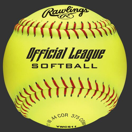 "A yellow YWCS11 Official League recreational 11"" softball"
