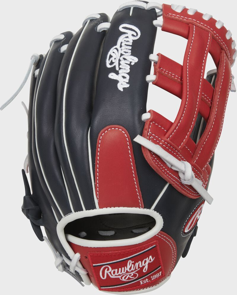 Navy back of a Breakout 12.75-Inch H-web outfield glove with a red Rawlings patch - SKU: RSGBOYPT6-6NS
