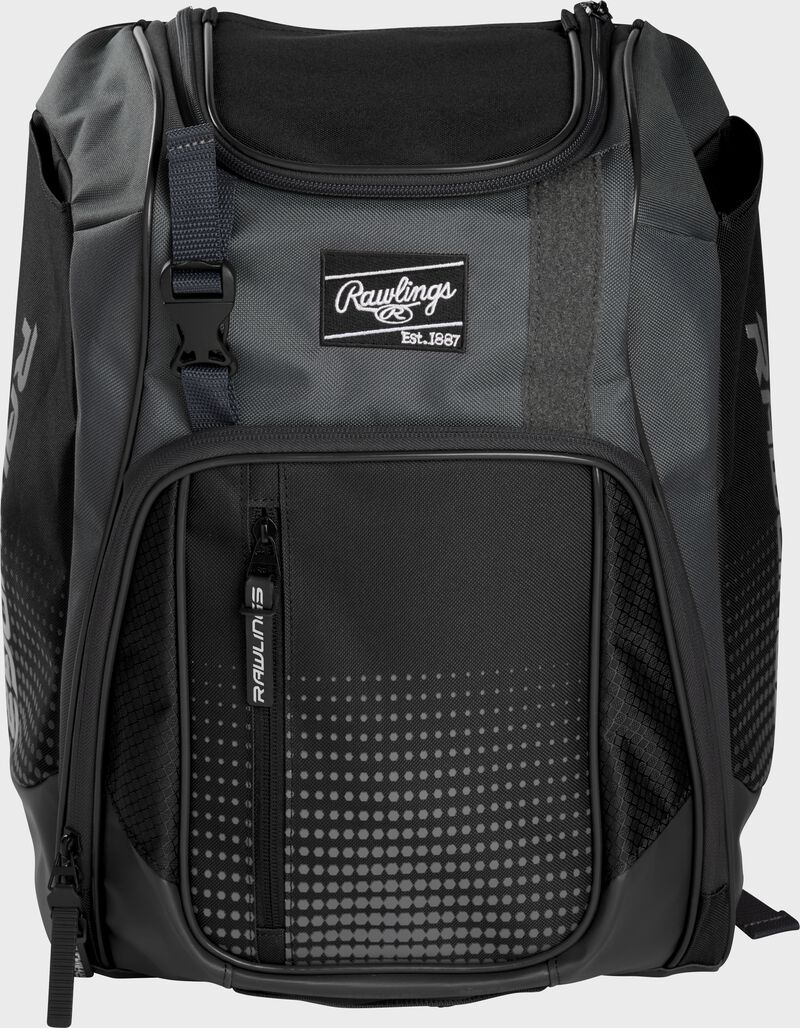 Front of a black Franchise baseball backpack with gray accents and a black Rawlings patch - SKU: FRANBP-B