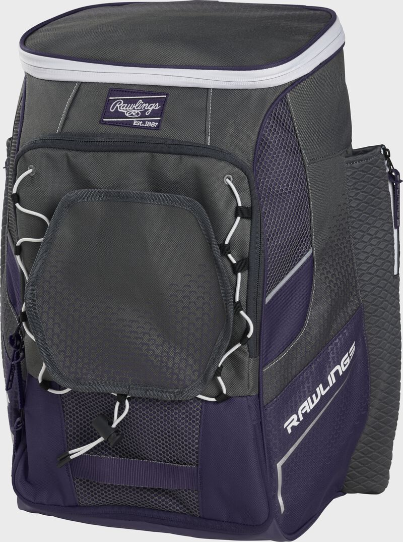 Front right angle of a purple Impulse backpack - SKU: IMPLSE-PU