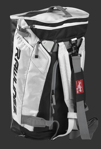 Angled view of a white R601 Rawlings hybrid bag standing up like a backpack