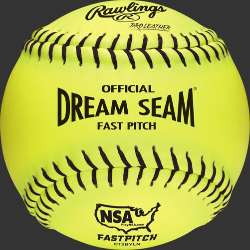 """C12BYLN NSA Official 12"""" Softballs with a yellow cover and black stitching"""
