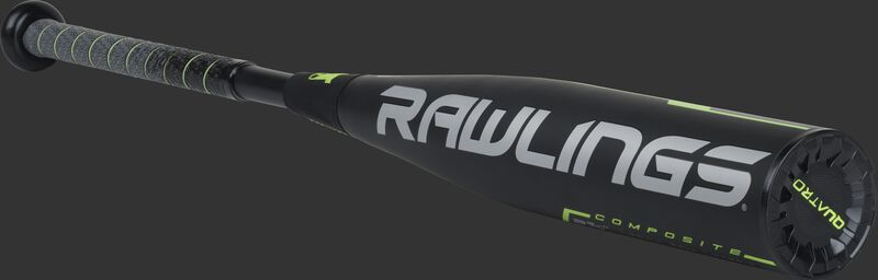 UT9Q10 Rawlings USSSA baseball bat with a black barrel and grey/green accents