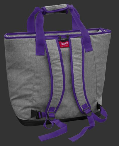 Back of a LSU Tigers tote cooler with backpack straps - SKU: 10323035111