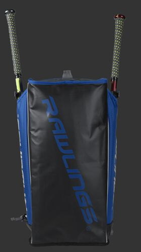 Bottom of a royal R601 Hybrid backpack with a royal Rawlings logo printed across the bottom