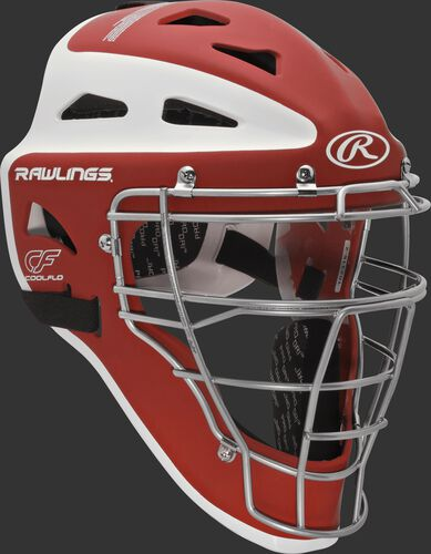 Front right of a scarlet/white CHVEL Rawlings Velo adult catcher's helmet