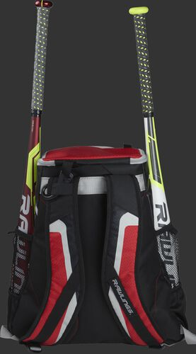 Back of a black/scarlet R500 team backpack with two bats in the side sleeves