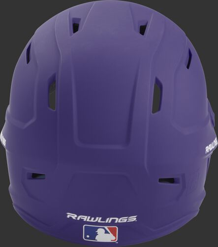 Back of a purple MACH high performance helmet with the Official Batting Helmet of MLB logo