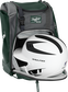 A white/black helmet in the main compartment of a dark green Rawlings Franchise backpack - SKU: FRANBP-DG image number null