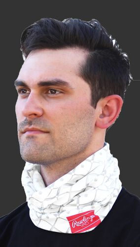 A guy wearing a white adult multi-functional neck gaiter around his neck - SKU: RC40005-100
