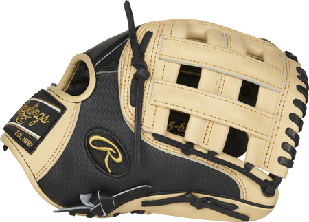 Thumb view of a PRO205-6BCSS Heart of the Hide infield glove with a camel H web