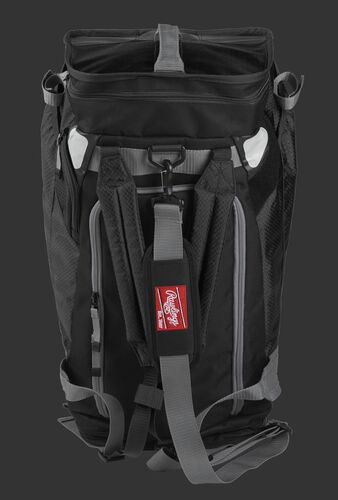 Front of a black R601 Rawlings Hybrid backpack/duffel bag with a gray strap and black arm straps